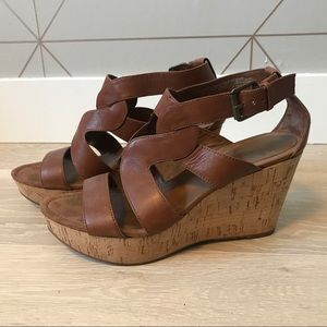 Nine West Entertaino Leather Cork Wedge Sandals